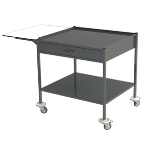 S/Steel Trolley with 1 Lower Shelf, 1 Draw. (Suits Warming Cabinets)