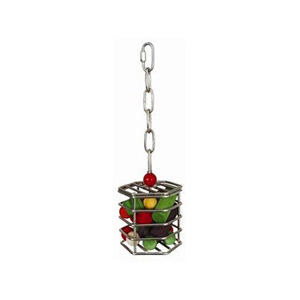 Hanging Chew Cage S/Steel 100 x 100mm Hexagon 305mm chain & clip